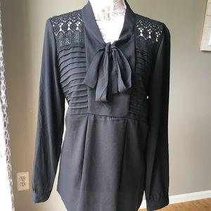 Adiva Black Crochet V Neck Tie Blouse